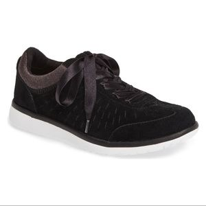 Ugg Victoria Black Suede Perforated Sneaker NWB